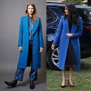 SMYTHE blue peaked lapel column long wool coat